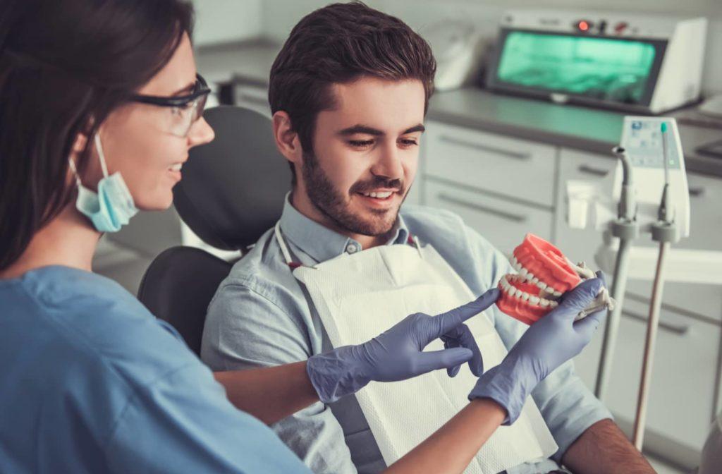 Dentist explaining TMJ to a patient